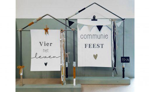 diy pakket huisje huis decoratie interieur raam staal hout kralen communie