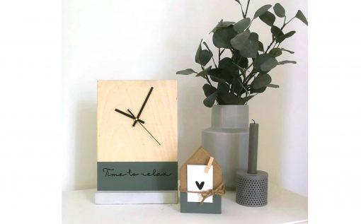 diy pakket klok huis decoratie interieur hout beton