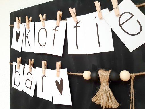 diy klembord muur woord slinger letters interieur decoratie kralen touw jute kinderfeest