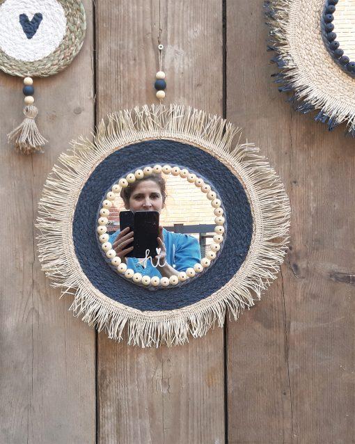 diy pakket spiegel placemat huis wand muur decoratie interieur kralen