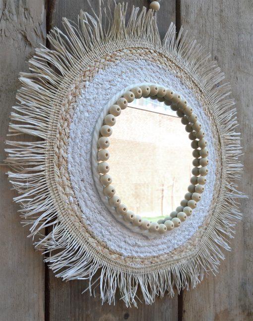 diy pakket spiegel riet placemat huis wand muur decoratie interieur kralen