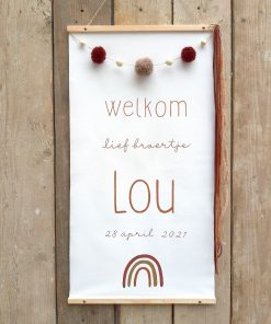 eigenhoutje geboorte banner decoratie canvas wandecoratie muur interieur baby