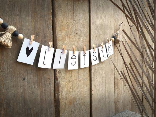 diy pakket woord slinger letters interieur decoratie kralen touw jute