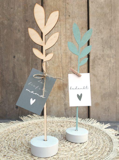 hout bloem kaart accessoire beton interieur