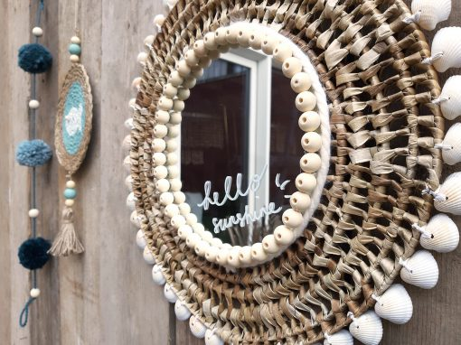 diy pakket spiegel schelpen placemat huis wand muur decoratie interieur kralen