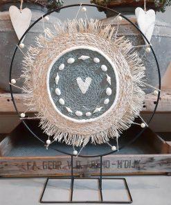 diy pakket staande decoratie ring met schelpen